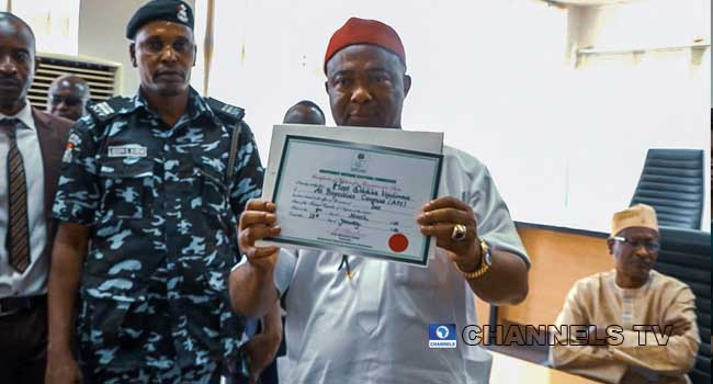 Imo new Governor Sen. Hope Uzodinma Pictured with his Certificate of Return (Photos)