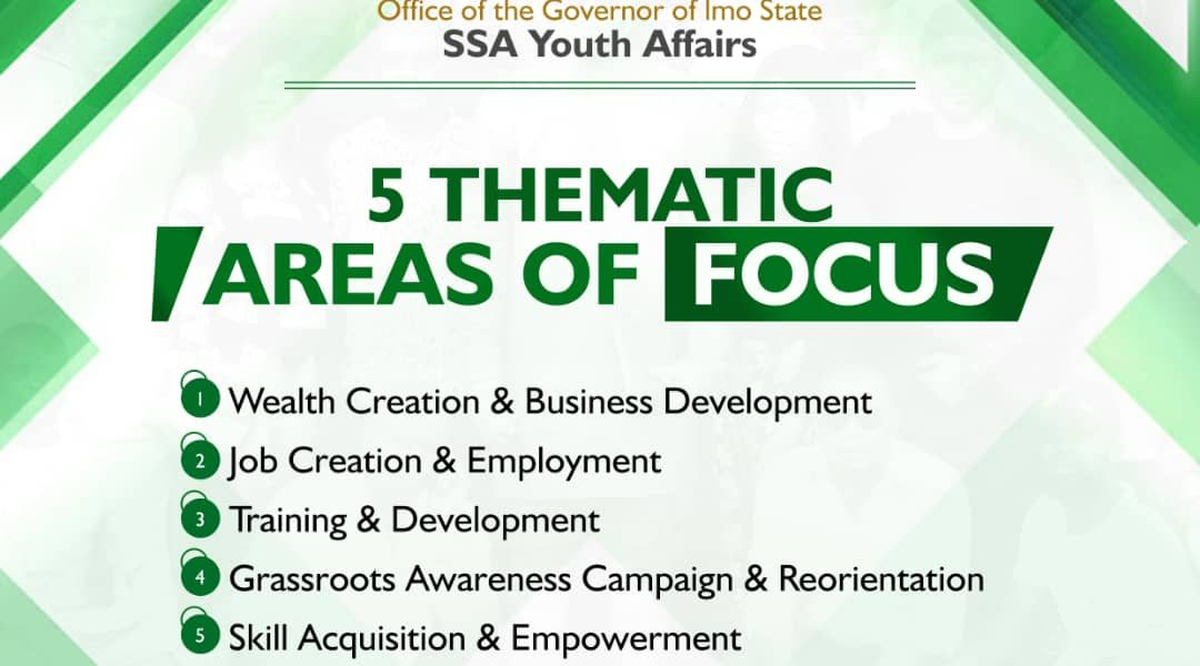 The SSA on Youth Affairs to Gov. Hope Uzodinma unveils his 5 Thematic Areas of Focus..