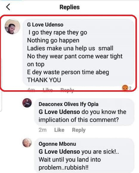 Nigerian man boasts of being a rapist while reacting to Uwa's death