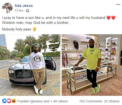 I pray to have a son like Hushpuppi Nigerian lady says